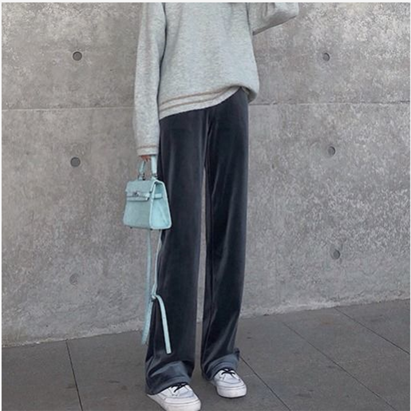 Spring And Autumn Wide Leg Pants Women's Winter New High Waist Drop Gold Velvet Sports Casual Loose Straight Long Pants