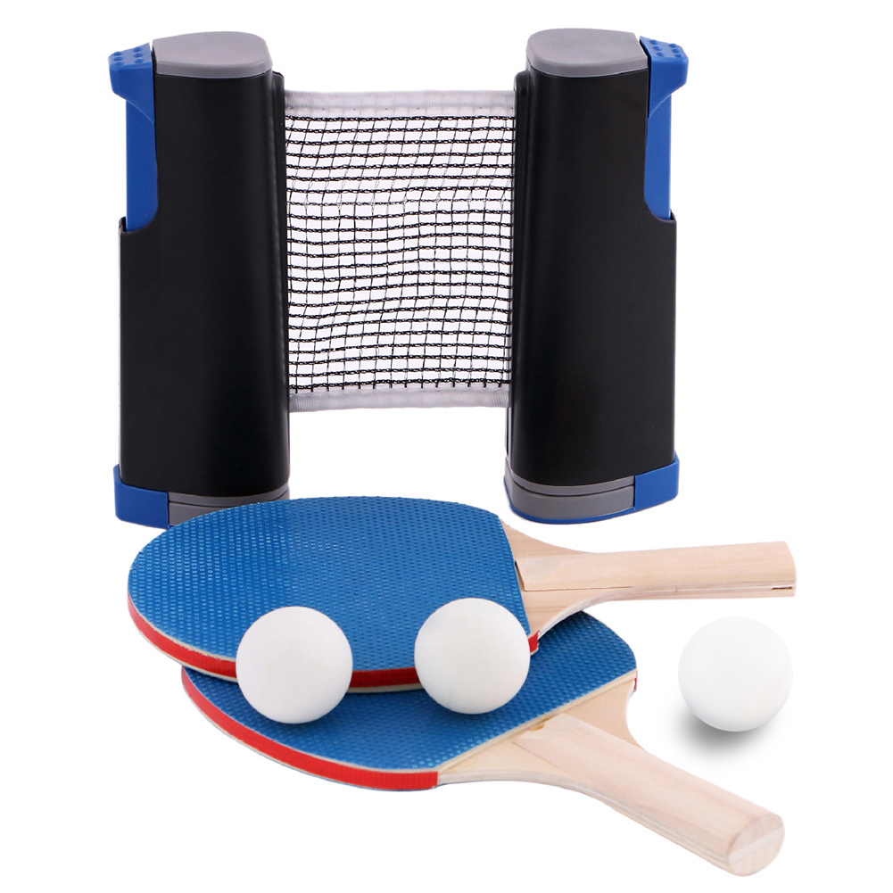 Table Tennis Sets, Portable Ping Pong Set 3 Ping Pong Balls + Racket + Telescopic Net Ping Pong Bats Extending Net Sports Tools