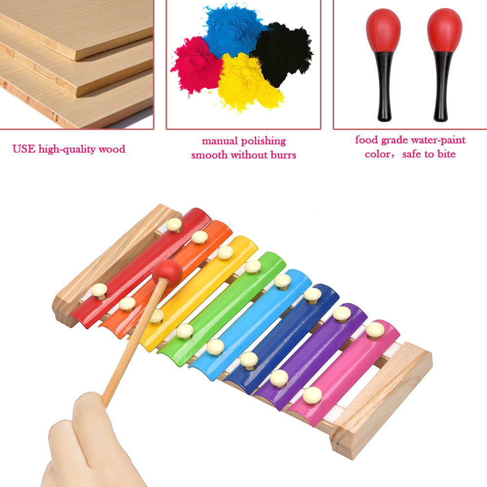 Conjunto de instrumentos de percussão para crianças,