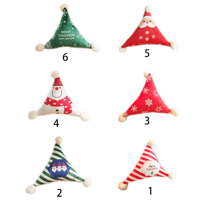 Triangle Shaped Velvet Throw Waist Pillow Christmas Santa Claus Snowman Print Detachable Cushion With Pompom Ball Car Decor