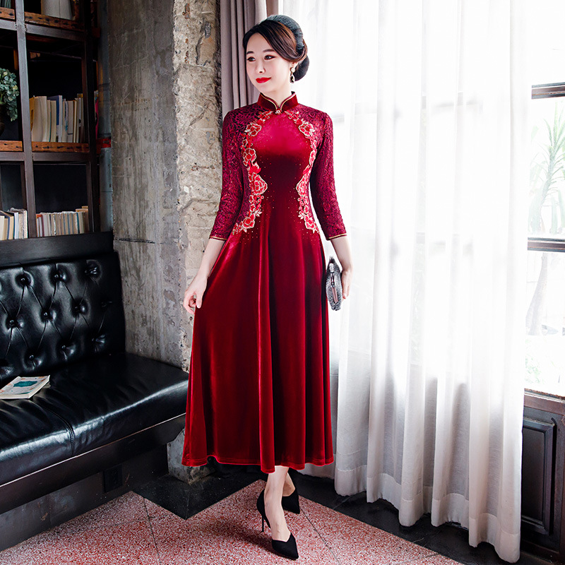Lady Velour Elegant Qipao Classic Burgundy Cheongsam Formal Party Gown Noble Flower Chinese Dress Large Size 3XL-5XL Vestidos