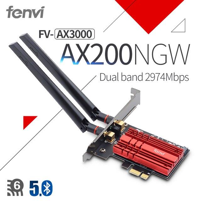 3000 mb/s Wifi 6 dwuzakresowy pulpit PCIe Adapter WiFi Intel AX200 karta Wi fi 802.11ax 2.4G/5Ghz Bluetooth 5.0 PCI Express Wireless