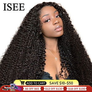 Mongolian Kinky Curly Wigs For Women Lace Frontal ISEE HAIR Curly Lace Closure Wig 180% Density Curly Lace Front Human Hair Wigs