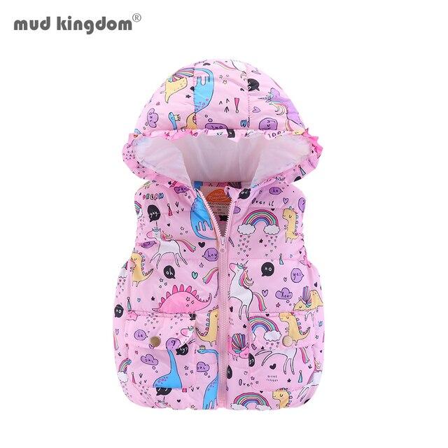 Mudkingdom Boys Girls Hooded Vest Sleeveless Hooded Wool Vest Jacket Cartoon Print Coat Kids Warm Cashmere Vest Outwear Clothes 1