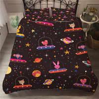 Edredón conjunto animales en el espacio edredón tamaño king Set ropa de cama de diseño de dibujos animados de lujo impreso ropa de cama