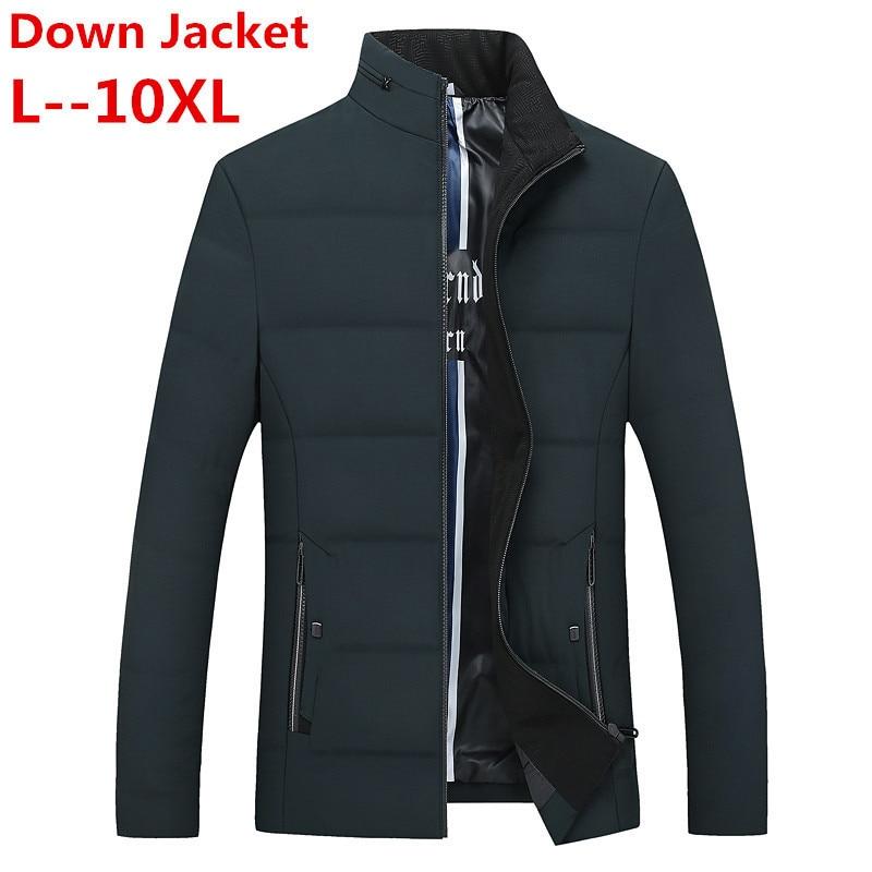 Plus Size 8XL 6XL 5XL Winter Jacket Men Slim Fit White Duck Coats Fashion  Autumn Parka Male Slim Fit Black Bomber Big Size