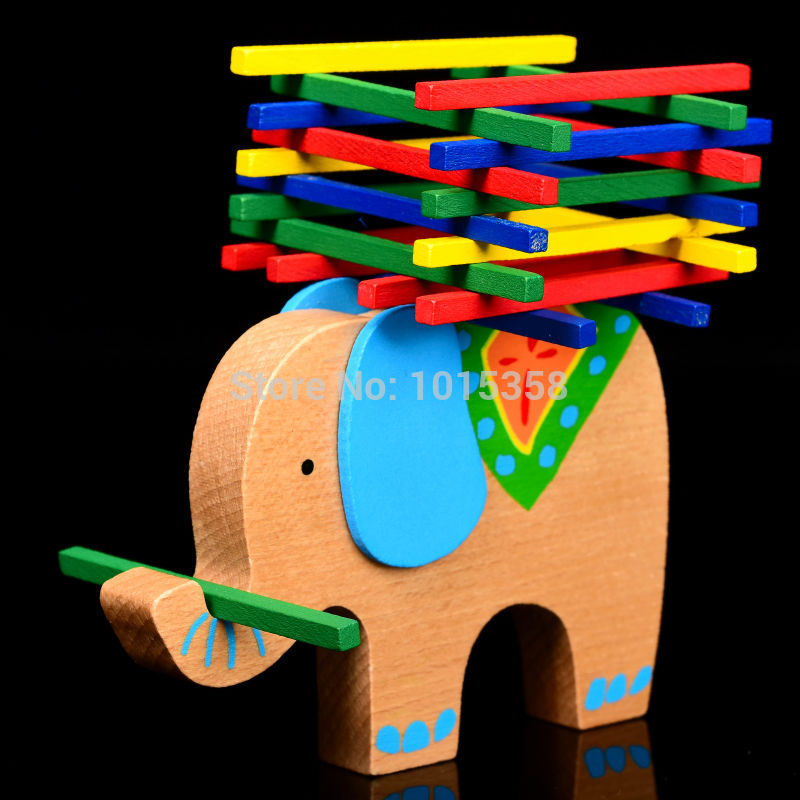 1PCS Free Shipping High Quality Wooden Toy Elephent Balance Jenga, Classic Table Game Great Parents-child Interactive Blocks Toy