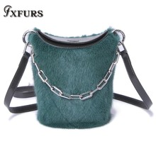 2019 New High-end Imported Whole Mink Fur HandBags Cover Bucket Single Shoulder Slung Female Fashion Backpack Bags Winter