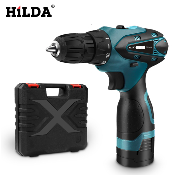 цена на HILDA Electric Drill Cordless Screwdriver Lithium Battery  Mini Drill Cordless Screwdriver Power Tools Cordless Drill