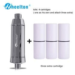 Wheelton SPA baño eliminar cloro filtro de agua purificador de ducha filtración de agua suave conectar 3 cartuchos adicionales