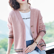 Ladies Cardigans Knitwear Women Sweaters Long-Sleeve Casual New Warm Autumn Solid V-Neck