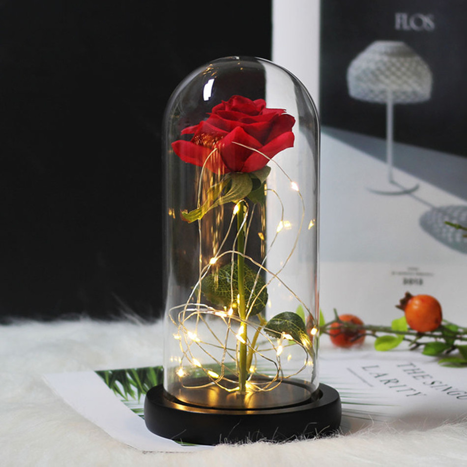Hot-Rose Flask Led-Light Glass Dome Beauty-And-The-Beast Party Gold-Plated For Wedding