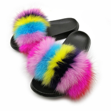 Flat Sandals Shoe Flip-Flops Slippers Women Real-Fox-Fur Furry Slides Female Woman Cute