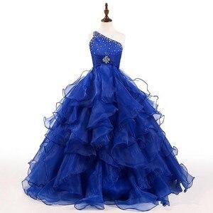Ярко-синее Пышное Платье для девочек бальное платье из органзы на одно плечо, украшенное кристаллами и бусинами, с оборками, платья для дево...
