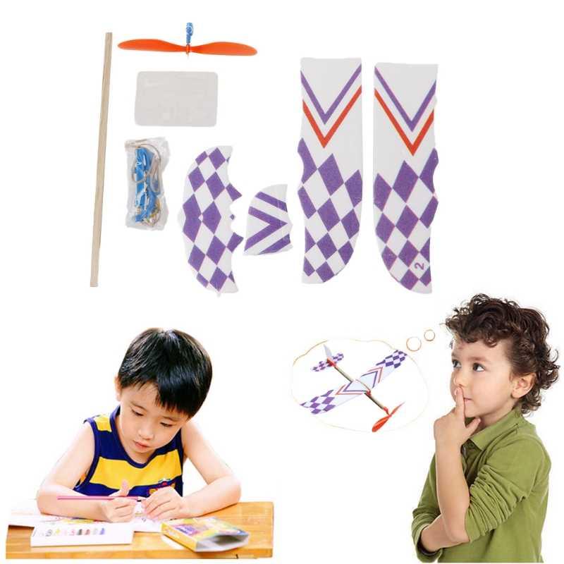شريط مطاطي بدعم المنزلق تحلق الطائرة نموذج طائرة DIY الجمعية لعبة طفل هدية