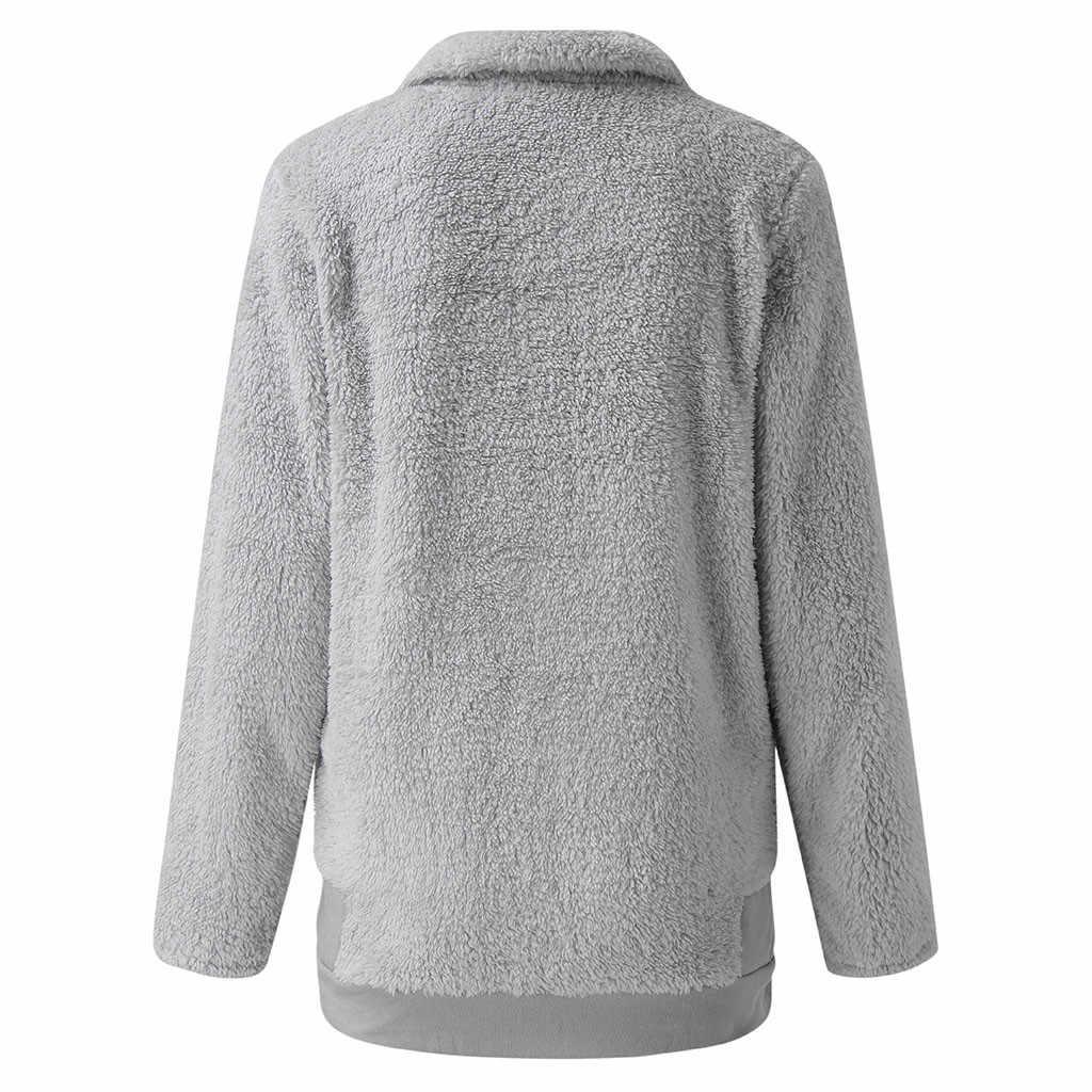 Frauen Winter Warm Verdicken Fleece Jacke Mantel mit Taschen Zip Vorne Offen Outwear Mantel Teddy Jacke Oberbekleidung 2019 Mäntel