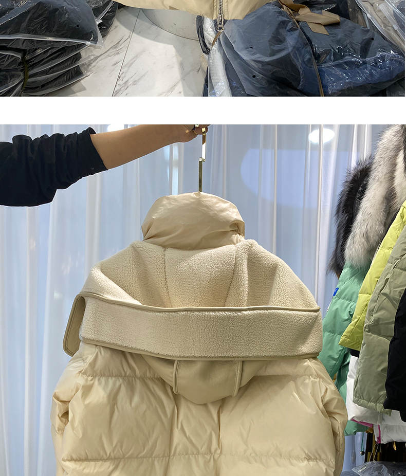 H14d201b1fb1645bd8e221db958f2a607e 2021 winter new down jacket women new fashion mid-length loose and thin lamb hair stitching white duck down long-sleeved jacket