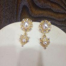 Baroque  retro carved pearls inlaid women earrings korean drop jewelry luxury bohemian