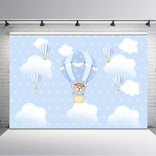 Blue Hot Air Balloon Baby Shower Backdrop Cute Plush Bear Birthday Photo Background Blue Sky White Cloud Dessert Table Backdrops paper cloud colour balloon blue sky bird photo studio background vinyl cloth high quality computer printed birthday backdrop