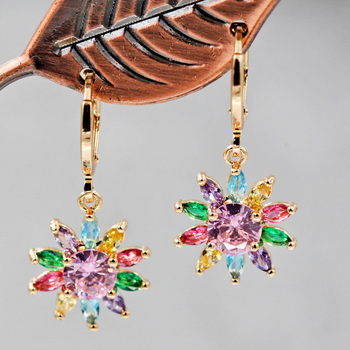 Bohemia Dangle Drop Earrings for Women s earrings Gold Earring red sunflower Zircon Luxury Jewelry for.jpg 350x350 - Multi color Sunflower Luxury Hanging Drop Earrings