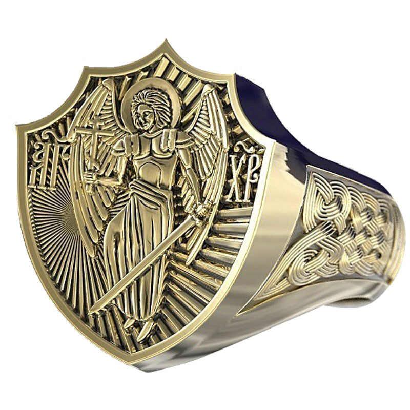 แฟชั่นBronze PunkแหวนชายVINTAGEภาษากรีกAngel Wings CROSS Signet BIKERแหวนผู้ชายHip Hopไวกิ้งBohoเครื่องประดับ 2020