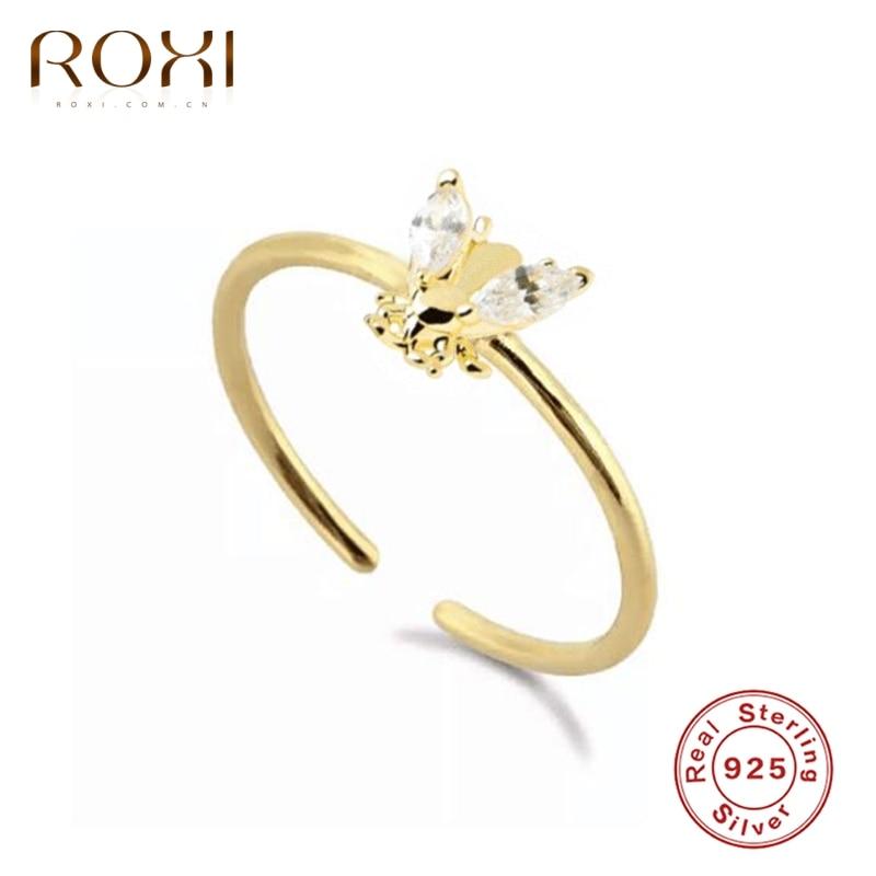 ROXI brillant cristaux abeille anneaux ouverts pour femmes filles Bague de mariage 925 en argent Sterling bagues Bague de fiançailles bijoux Bague