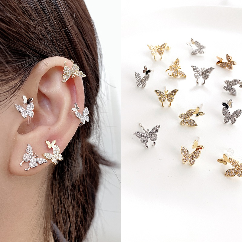 MENGJIQIAO New Fashion Cute Rhinestone Gold Color Butterfly Stud Earrings For Women No Piercing Fake Cartilage Earring Gifts