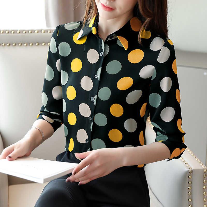 Korea Musim Gugur Wanita Kemeja Wanita Blus Sifon Wanita Dot Blus Kemeja Plus Ukuran Wanita Atasan dan Blus Blusas Mujer De moda
