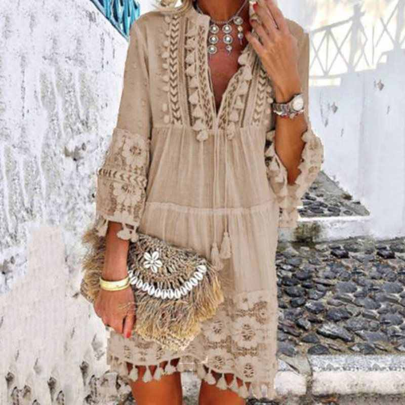 Tassel Hollow Out Mini Dresses Women Summer Autumn Sexy V-Neck Boho Dress 2019 New Bohemian Floral Printed Beach Dress Vestidos