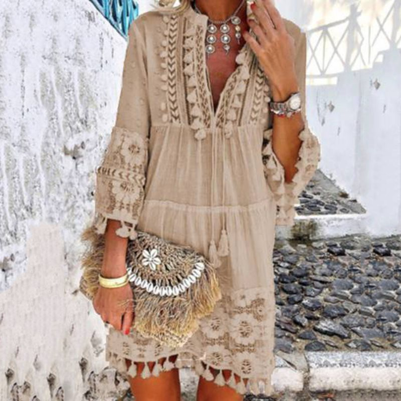 Tassel Hollow Out Mini <font><b>Dresses</b></font> <font><b>Women</b></font> <font><b>Summer</b></font> Autumn <font><b>Sexy</b></font> V-Neck Boho <font><b>Dress</b></font> 2019 New Bohemian Floral Printed Beach <font><b>Dress</b></font> Vestidos image
