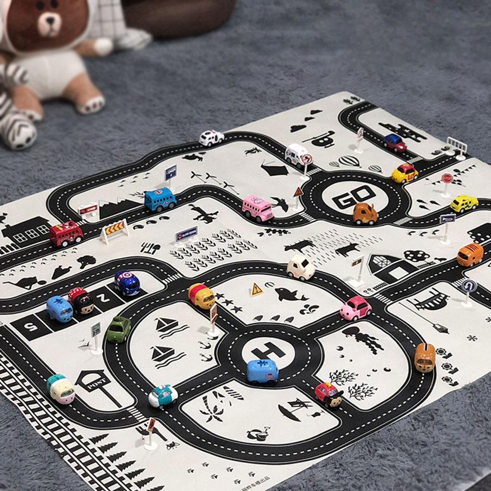 Portable Children Game Mat Cartoon Traffic Parking Map Toddler Crawling Mat Non-woven Fabric Waterproof Picnic Pad