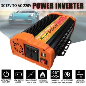 Image 1 - 인버터 12V 220V 12000 와트 피크 6000W 자동 수정 사인파 전압 변압기 태양 광 인버터 변환기 자동차 충전 USB