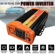 Inversor de 12V, 220V, 12000W máximo, 6000W, transformador de voltaje de onda sinusoidal modificada automática, convertidor inversor de energía Solar, carga USB para coche