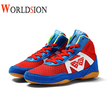 Professional Wrestling Shoes Kids Light Weight Boxing Shoes Boys Anti Slip Flighting Sneakers Kids Size 32-38 Wrestling Sneakers