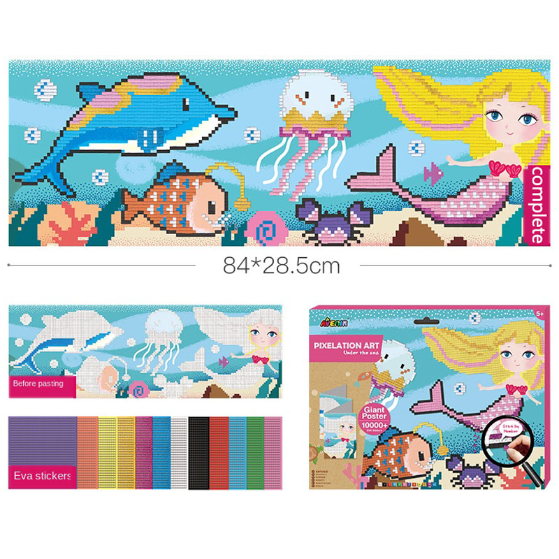 Parrowbebe 84cm*28cm Big Flash Mosaic Painting Children Toy Pixel Baby Handmade Eva Sticker Painting Paste Art Decorating Room