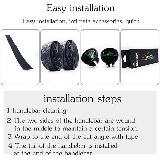 MOTSUV Road Bicycle Handlebar Tape Belt Cycling Race Handle Bar Grip Wrap Anti-slip Anti-sweat Strap 2 Bar Bike Accessories 4