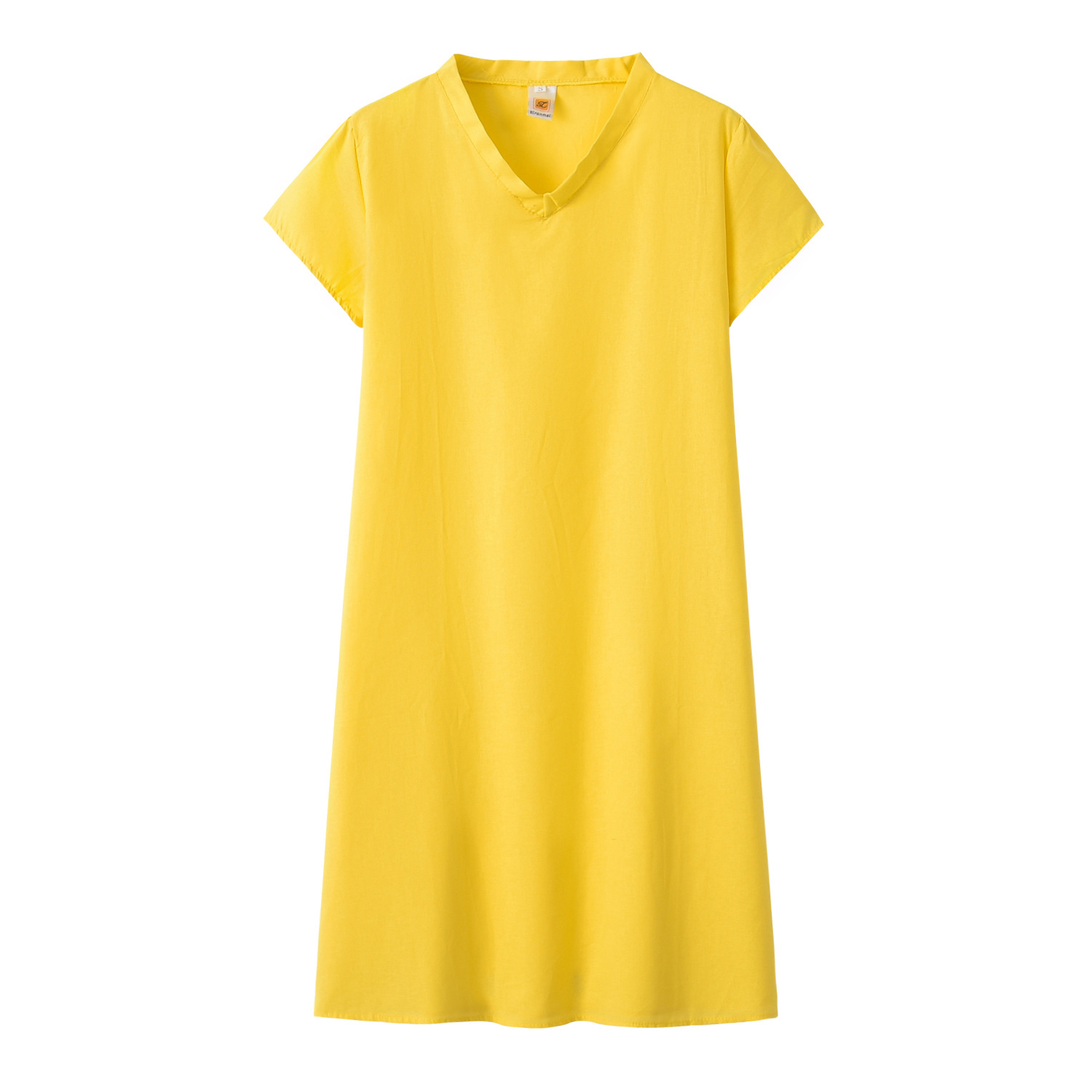 2019 AliExpress Wish Amazon <font><b>EBay</b></font> Eleven Color Large Size Solid Color Short Sleeve V-neck Short-sleeve Dress image