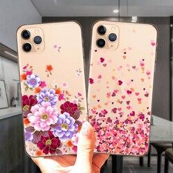 Розовый цветочный сексуальный кружевной прозрачный мягкий силиконовый чехол для телефона iPhone 12 Mini 11 Pro XS Max 6S 7 8 Plus X XR 5S SE 2020