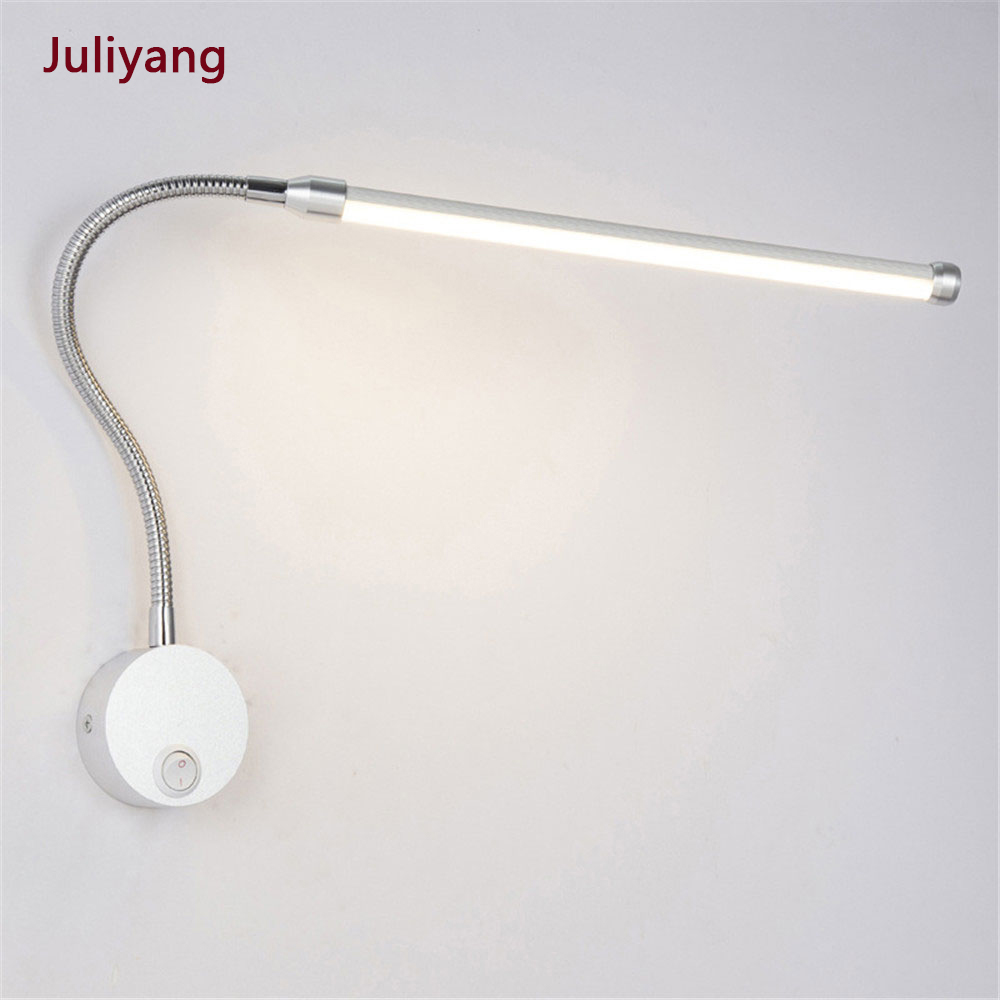 Modern Bedroom Bedside Reading Lighting 360 Degree Angle Adjustable 6W LED Reading Wall Lamps With Knob Switch 90-260V
