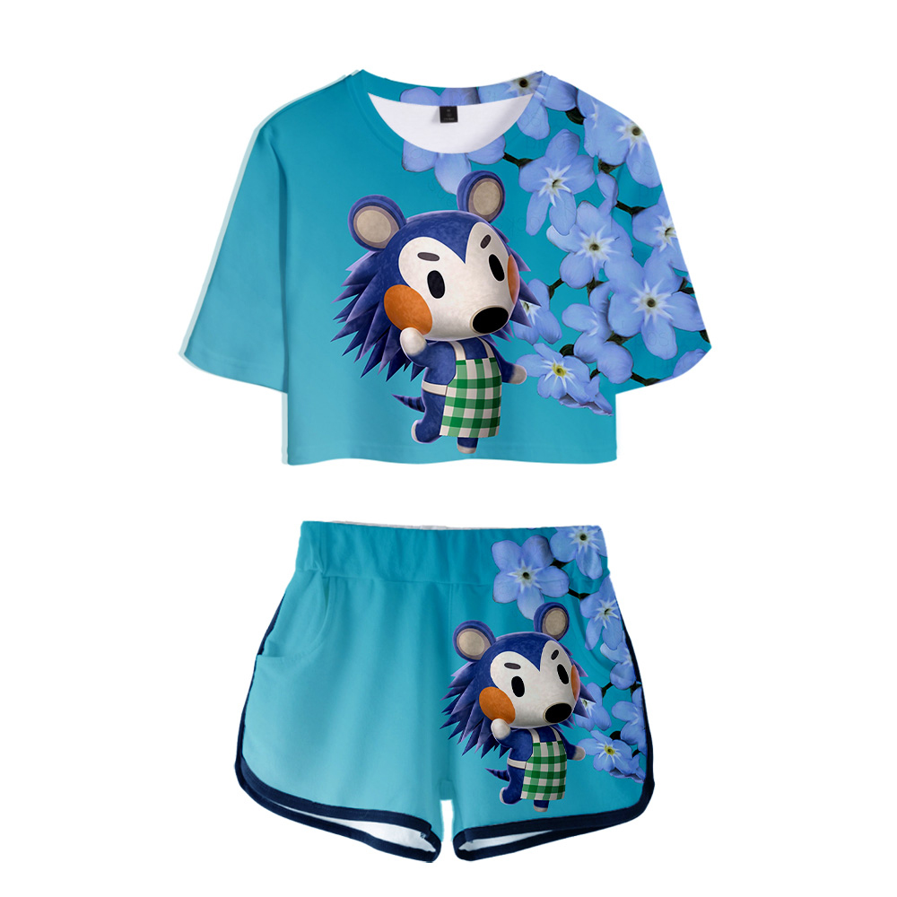 Animal Crossing 3D Pop Summer Soft Shorts And T-shirts  Fashion Women Two Piece Sets Cool Print Crop Top Clothes