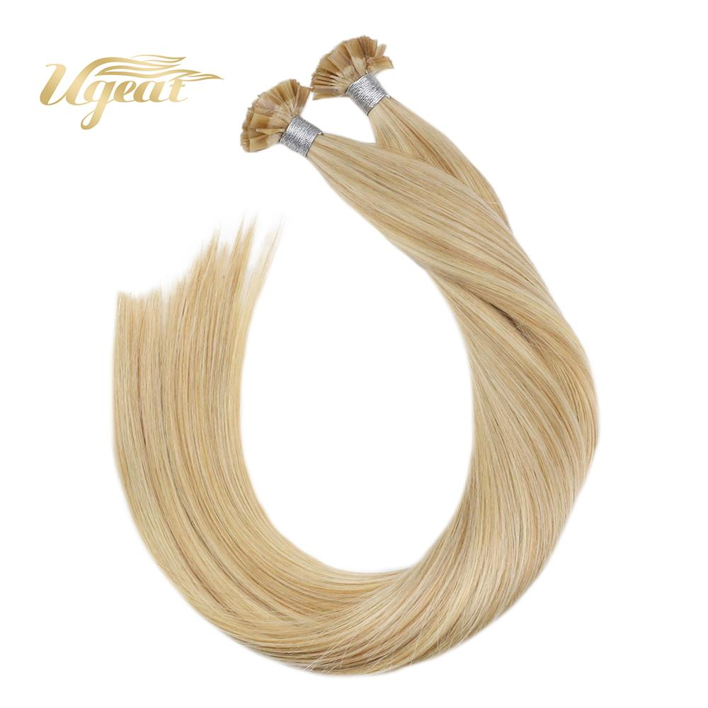 Ugeat Pre-Bonded Flat Tip Human Hair Extensions Highlight Blonde Color Hair Salon Quality Non-Remy Brazilian Human Hair 50-100G