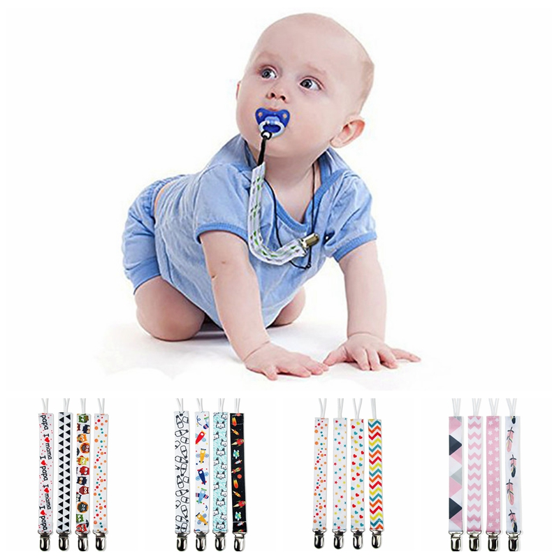 4Pcs/Lot Baby Pacifier Chain Clip Infant Cartoon Ribbon Feeding <font><b>Toy</b></font> Chains I love <font><b>Papa</b></font> <font><b>Mama</b></font> Newborn Teether Anti Rope Dummy Clip image