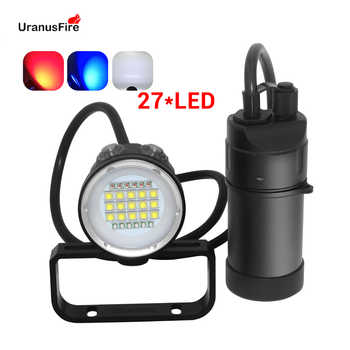 27 LED Canister Diving Video Light Waterproof 100m Underwater XM L2 Scuba Dive Torch Rechargeable 18650 Led Split Flashlight - DISCOUNT ITEM  54 OFF Lights & Lighting