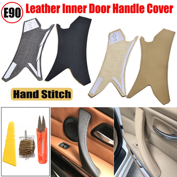 Ar Interior Door Handle Hand Sewing Cover Micro Leather Door Panel Pull Handle Cover Frame for BMW 3 Series E90 e91 E93 05-12 image