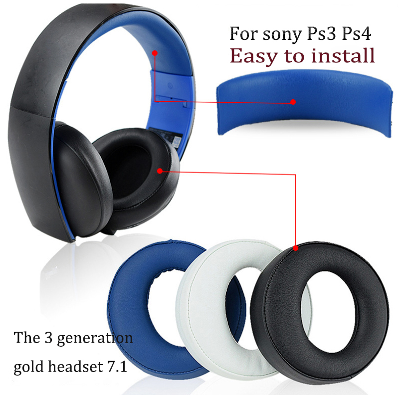Earpads Ear pad cushion Headband pads for Sony PlayStation PS3 PS4 7 1 PS Gold Wireless Stereo Headphone CECHYA-0083 L R 1 pair