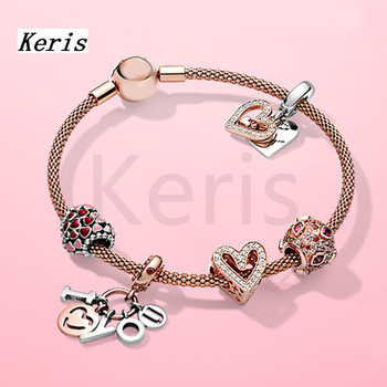The New 2020 100%925 Sterling Silver Plated Rose Gold DIY Letter Charm String Bracelet Is Free Of Charge