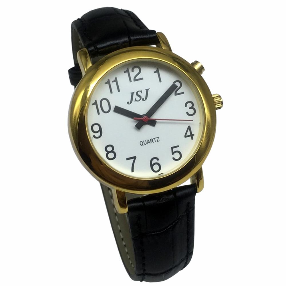 Французские говорящие часы с функцией будильника, говорящая Дата и время, белый циферблат, черный кожаный ремешок, золотой чехол TAF-507