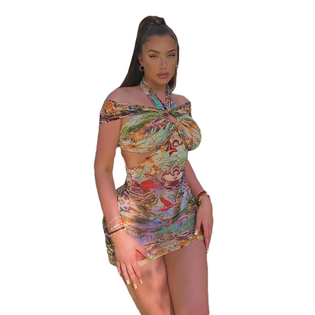 Fashion Sexy Halter Mini Bodycon Dress Summer New Party Vacation Print Off the Shoulder Short Dresses Female Streetwear 5