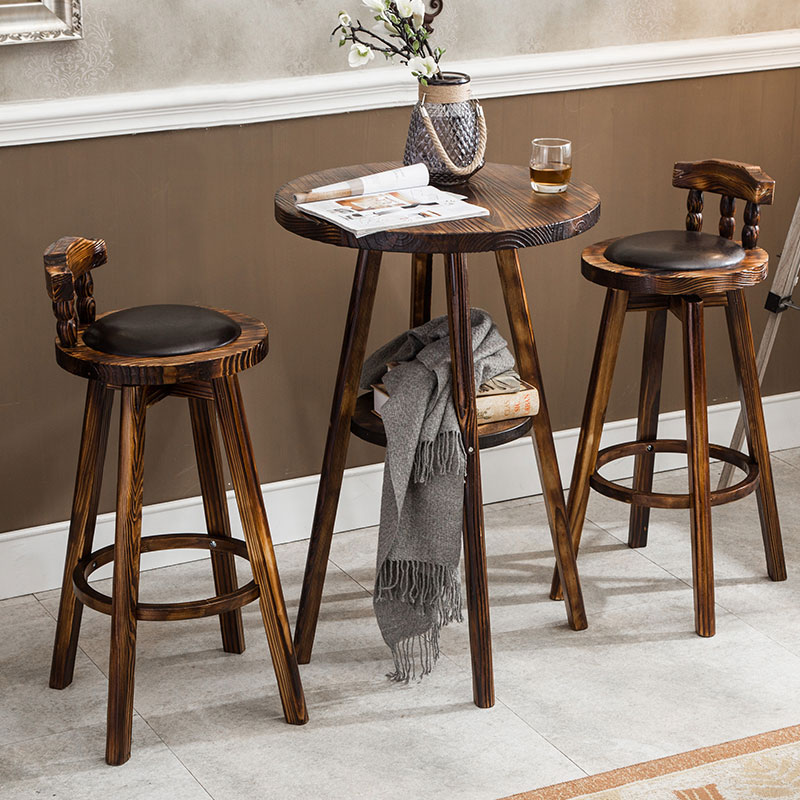American Retro Barstool Table And Chair Set High Stool Backrest Chair Rotatable Solid Wood Leather Chair Easy Installation