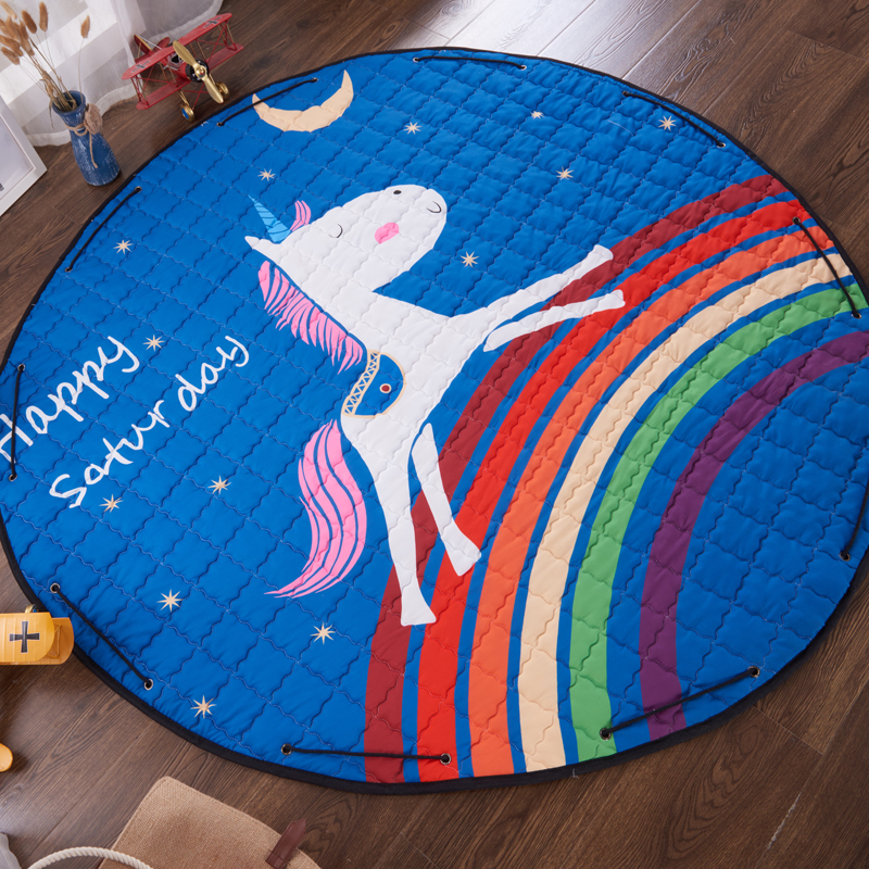 Multifunction Cartoon Animal lion/unicorn  Pattern Play Mat Toy Storage Bag Crawling Rug Carpet For Baby Nordic Style Room Decor | Happy Baby Mama